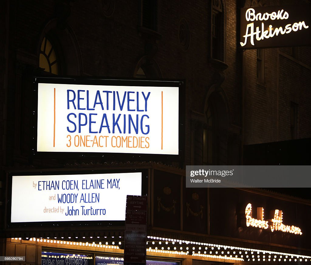 Theatre Marquee for the Opening Night Curtain Call for 'Relatively Speaking' at the Brooks Atkinson Theatre in New York City