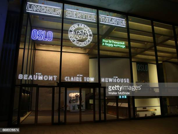Theatre Marquee for the Opening Night Performance for the Lincoln Center Theater production of 'Oslo' at the Vivian Beaumont Theater on April 13 2017...