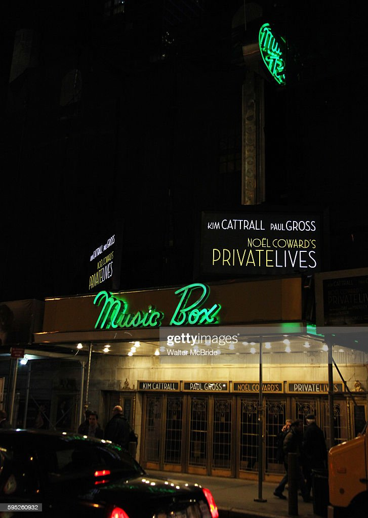 Theatre Marquee for the Opening Night Performance of 'Private Lives' at the Music Box Theatre in New York City on