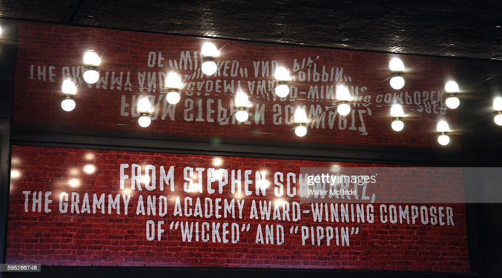Theatre Marquee for the Opening Night Performance of the Broadway Revival of 'Godspell' at Circle in the Square Theatre in New York City