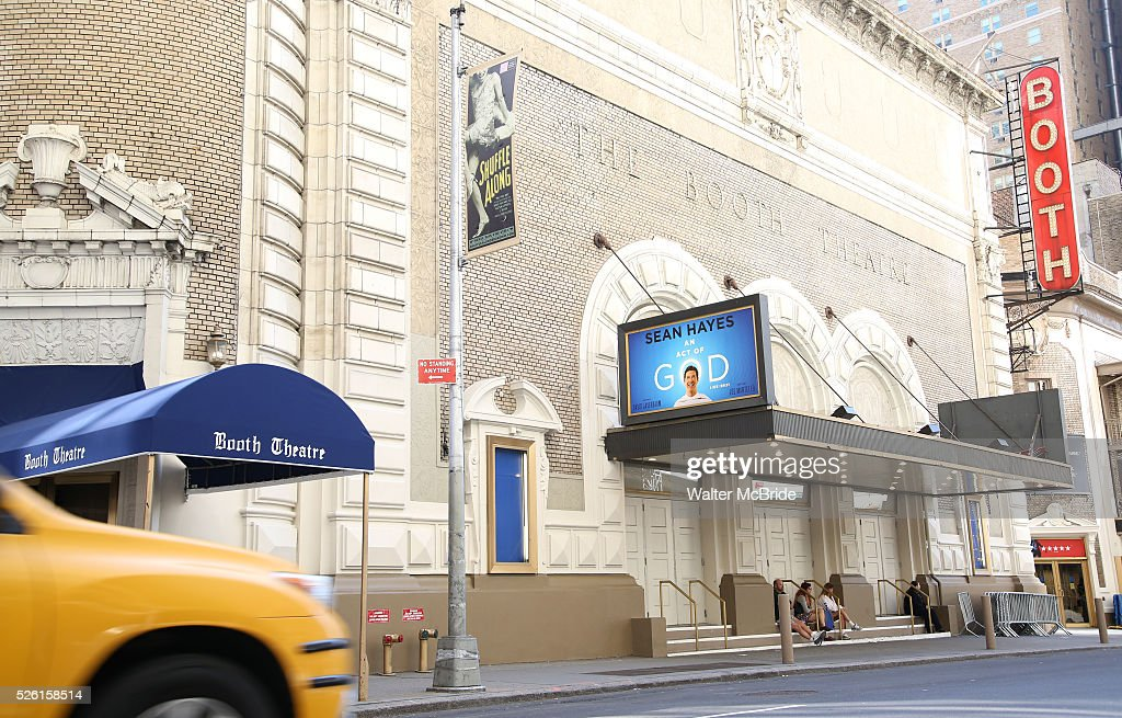 Theatre Marquee unveiling for 'An Act Of God' starring Sean Hayes at The Booth Theatre on April 29, 2016 in New York City.