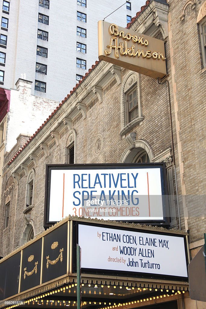 Theatre Marquee unveiling for 'Relatively Speaking ' at the Brooks Atkinson Theatre in New York City Relatively Speaking is comprised of three oneact...