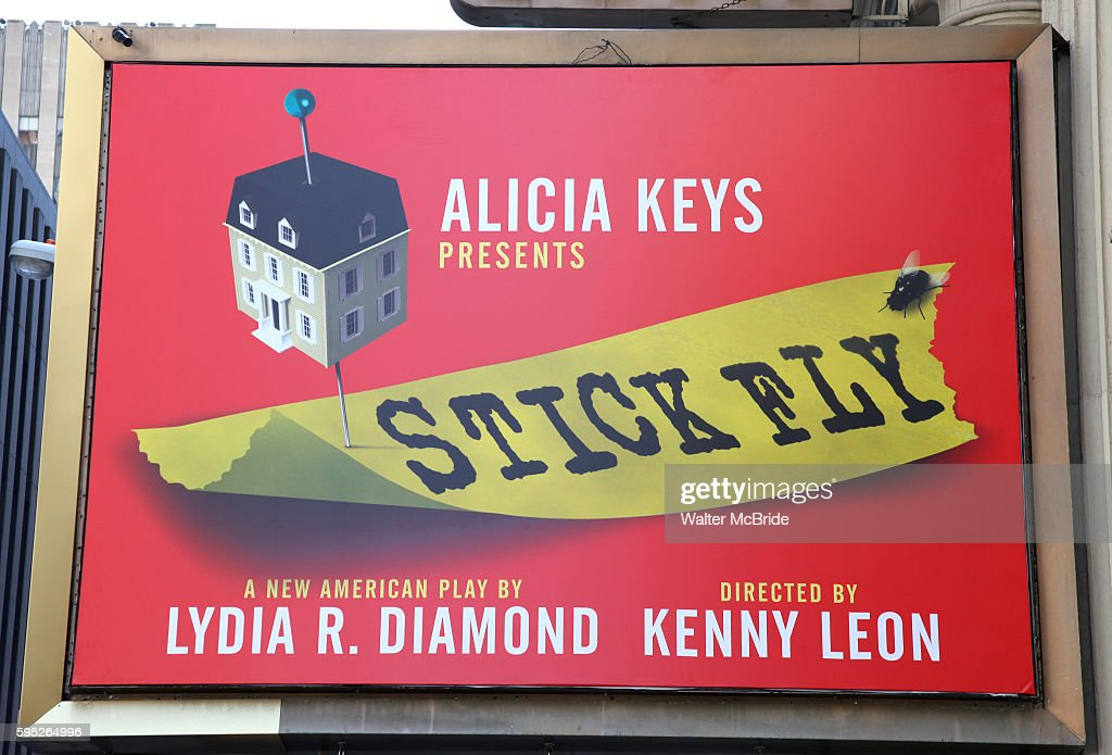 Theatre Marquee unveiling for 'Stick Fly' at the Cort Theatre in New York City Grammy Awardwinner Alicia Keys with Reuben Cannon Nelle Nugent produce...