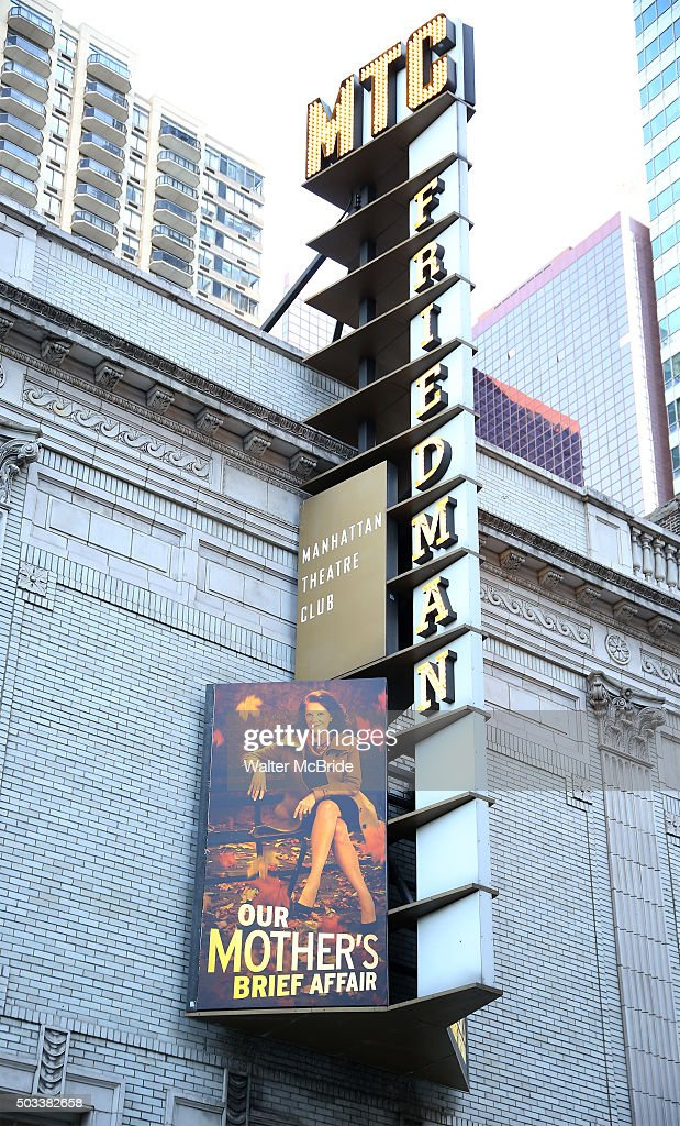 Theatre Marquee unveiling for the Manhattan Theatre Club's upcoming Broadway premiere of Richard Greenberg's 'Our Mother's Brief Affair' starring...