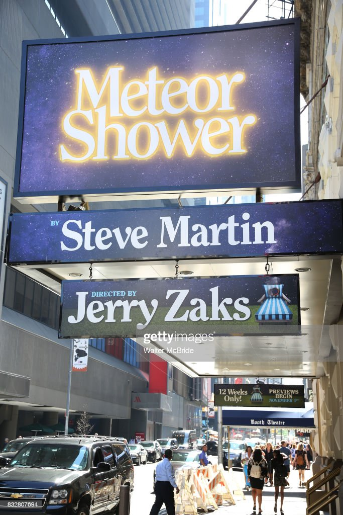 Theatre Marquee unveiling for the new Steve Martin play 'Meteor Shower' directed by Jerry Zaks and starring Amy Schumer, Keegan-Michael Key, Laura Benanti, and Alan Tudyk at The Booth Theatre on August 16, 2017 in New York City.