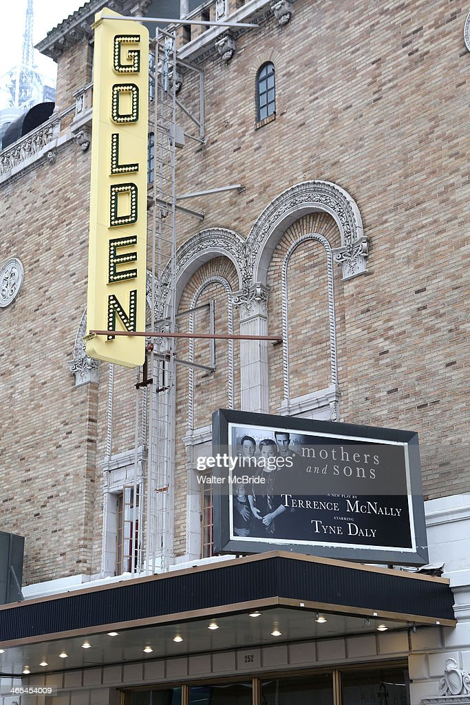 Theatre Marquee unveiling for the new Terrence McNally play 'Mothers and Sons' starring Tyne Daly at the Golden Theatre on January 26, 2014 in New York City.