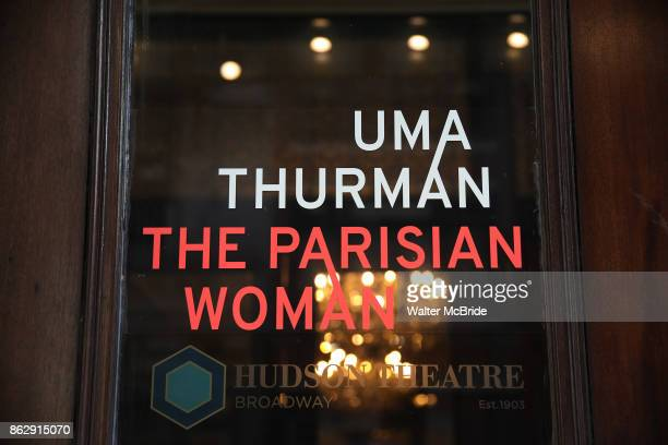 Theatre Marquee unveiling for Uma Thurman starring in 'The Parisian Woman' a new play written by Beau Willimon and directed by Tony winner Pam...
