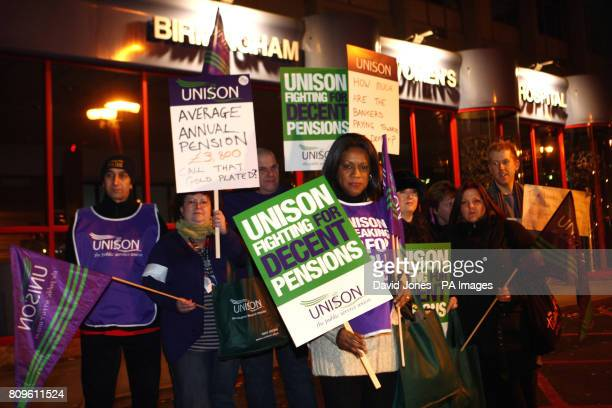Theatre nurse Eleanor Smith President of Unison leads health workers out on strike at midnight from the Birmingham Women's Hospital