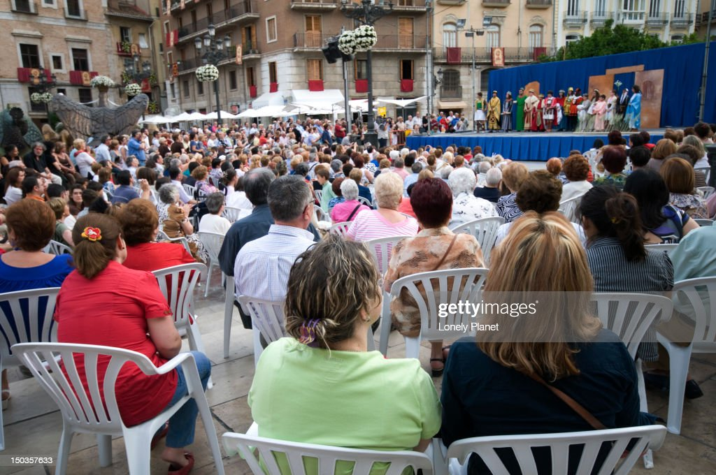 Theatre performance during Corpus Christi celebrations at Plaza de la Virgen : Stock Photo