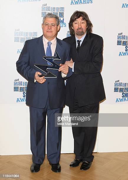 Theatre producer Sir Cameron Mackintosh with his Outstanding Achievement Award with award presenter Sir Trevor Nunn during the South Bank Show Awards...