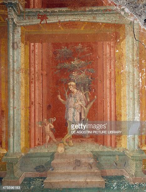 Theatre scene fresco on a red background from the House of Pinarius Cerialis Pompeii Roman civilisation 1st century AD