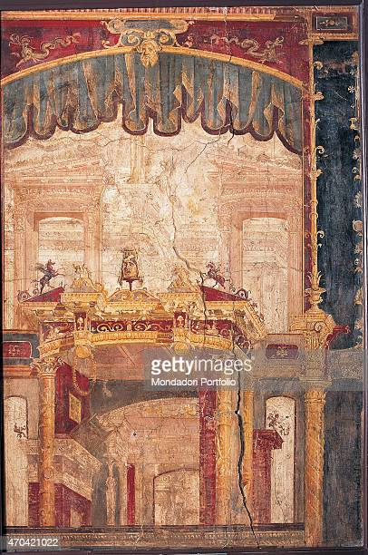 'Theatre Scenography by unknown artist 4562 1st Century AD ripped fresco 198 x 132 cm Italy Campania Naples National Archaeological Museum Room...