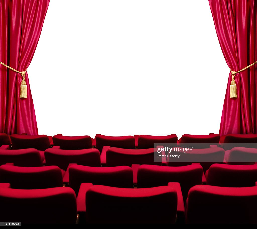 Theatre seats with open curtain and white screen