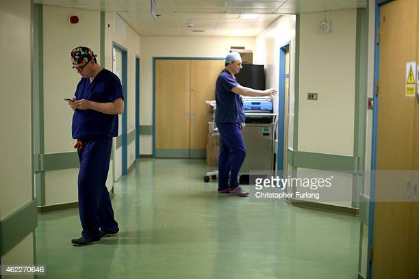Theatre staff prepare to go in the operating theatre at Birmingham Women's Hospital on January 22 2015 in Birmingham England Birmingham Womens...