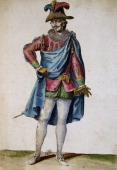 Theatrical costume for a cavalry officer from Henry IV's retinue for the play The Battle of Ivry engraving 1779 Paris Bibliothèque Des Arts Decoratifs