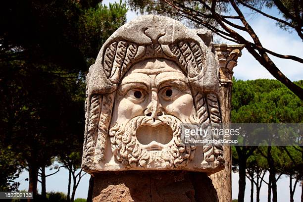 Theatrical mask Tragedy Ostia Antica Italy