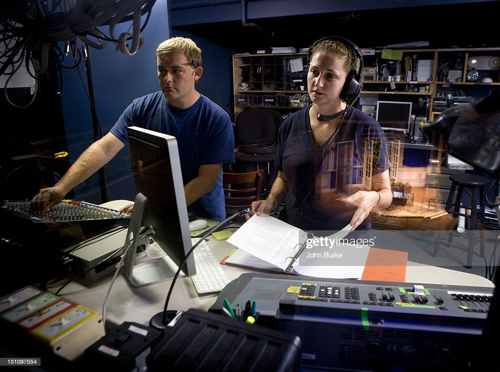 Theatrical Stage manager,sound technician : Stock Photo