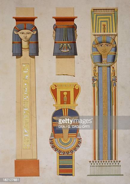 Theban pillars showing Isis from the 18th Dynasty engraving from Atlas de l'Histoire de l'Art Egyptien d'apres les monuments depuis les temps les...
