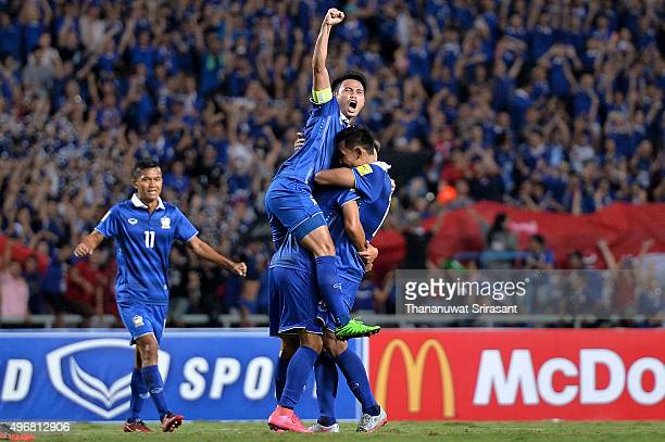 Theerathon Bunmathan of Thailand celebrates during the 2018 FIFA World Cup Qualifier match between Thailand and Chinese Taipei at Rajamangala...