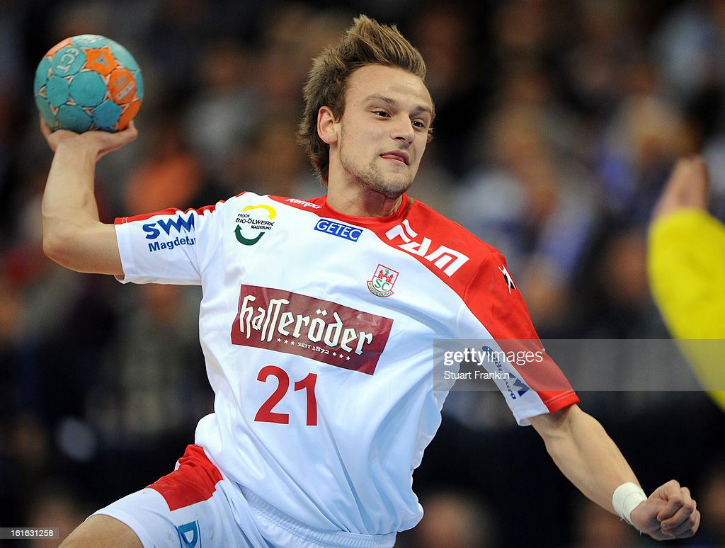 Thees Glabisch of Magdeburg in action during the Bundesliga match between Hamburger SV and SC Magdeburg at the O2 world on February 12, 2013 in Hamburg, Germany.