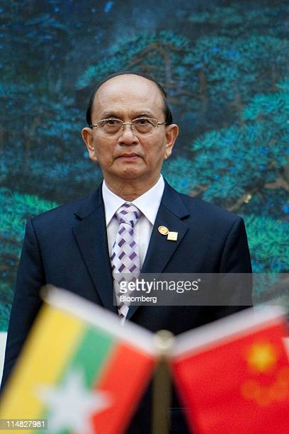 Thein Sein Myanmar's president attends a signing ceremony with Hu Jintao China's president unseen at the Great Hall of the People in Beijing China on...