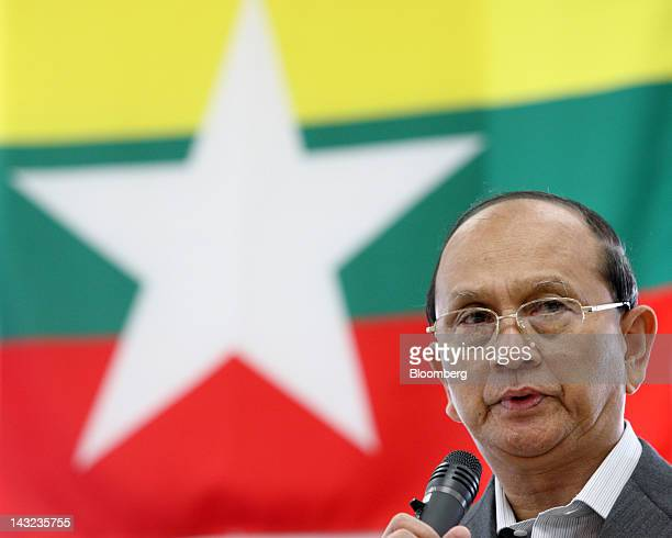 Thein Sein Myanmar's president speaks during a meeting with Tsunehisa Katsumata chairman of Tokyo Electric Power Co not pictured at the company's...