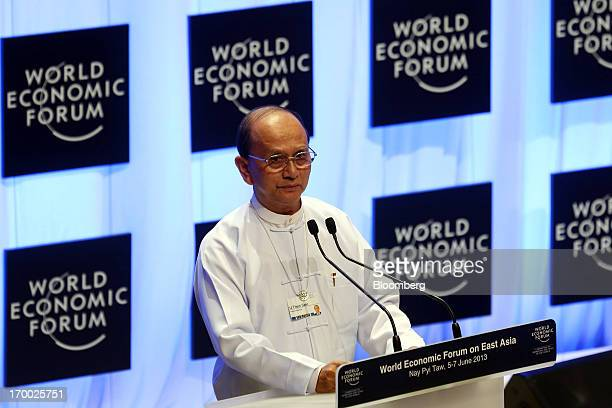 Thein Sein Myanmar's president speaks during the opening ceremony of the World Economic Forum on East Asia in Naypyidaw Myanmar on Thursday June 6...