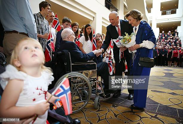 Their Majesties King Harald V of Norway and Queen Sonja of Norway meet with Norwegian war veteran Olav Ottesen during a Norwegian Community Reception...
