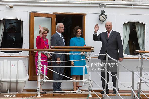 Their Majesties on board the Royal Yacht KS Norge at the end of thier visit to Tromso as King Harald of Norway and Queen Sonja of Norway host King...