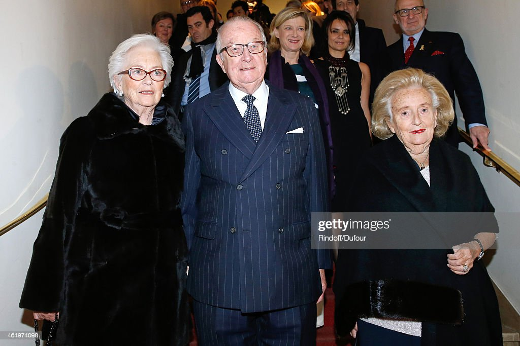 Their Majesties the King<a gi-track='captionPersonalityLinkClicked' href=/galleries/search?phrase=Albert+II+of+Belgium&family=editorial&specificpeople=159444 ng-click='$event.stopPropagation()'>Albert II of Belgium</a>, Queen Paola of Belgium and Member of the sponsorship committee of Missing Children Europe <a gi-track='captionPersonalityLinkClicked' href=/galleries/search?phrase=Bernadette+Chirac&family=editorial&specificpeople=206432 ng-click='$event.stopPropagation()'>Bernadette Chirac</a> attend the 'Talking to the Trees - Retour a La Vie' movie screening at Cinema l'Arlequin on March 2, 2015 in Paris, France.