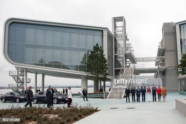 Their Majesties the kings of Spain Felipe VI and Letizia pose together with the local authorities before their visit to the new Botin Center of the...