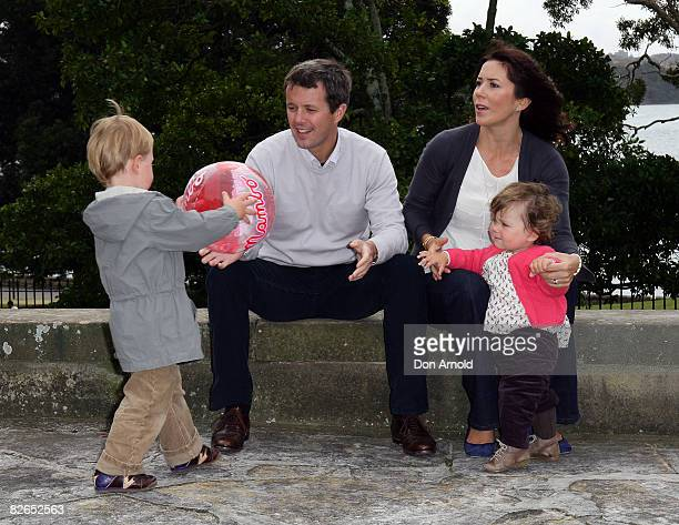 Their Royal Highnesses Crown Prince Frederik Crown Princess Mary Prince Christian and Princess Isabella of Denmark pose during a media call at...
