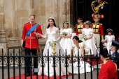 Their Royal Highnesses Prince William Duke of Cambridge and Catherine Duchess of Cambridge walk out of Westminster Abbey after their Royal Wedding on...