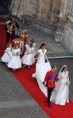 Their Royal Highnesses Prince William Duke of Cambridge and Catherine Duchess of Cambridge are followed by Maid of Honour Pippa Middleton their page...