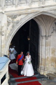 Their Royal Highnesses Prince William Duke of Cambridge and Catherine Duchess of Cambridge leave Westminster Abbery as they prepare to begin their...