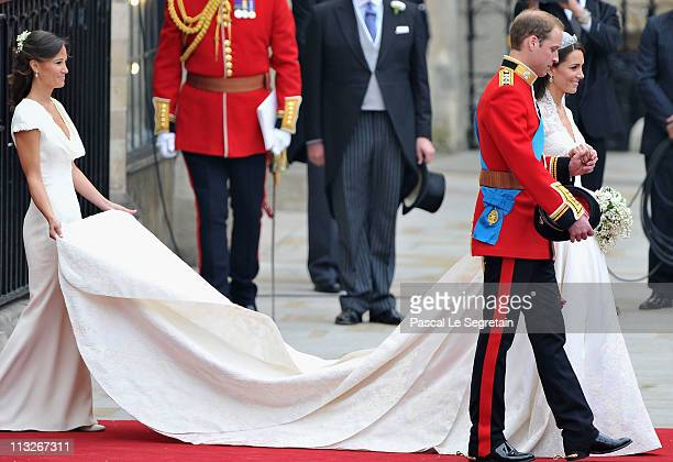Their Royal Highnesses Prince William Duke of Cambridge and Catherine Duchess of Cambridge prepare to begin their journey by carriage procession to...