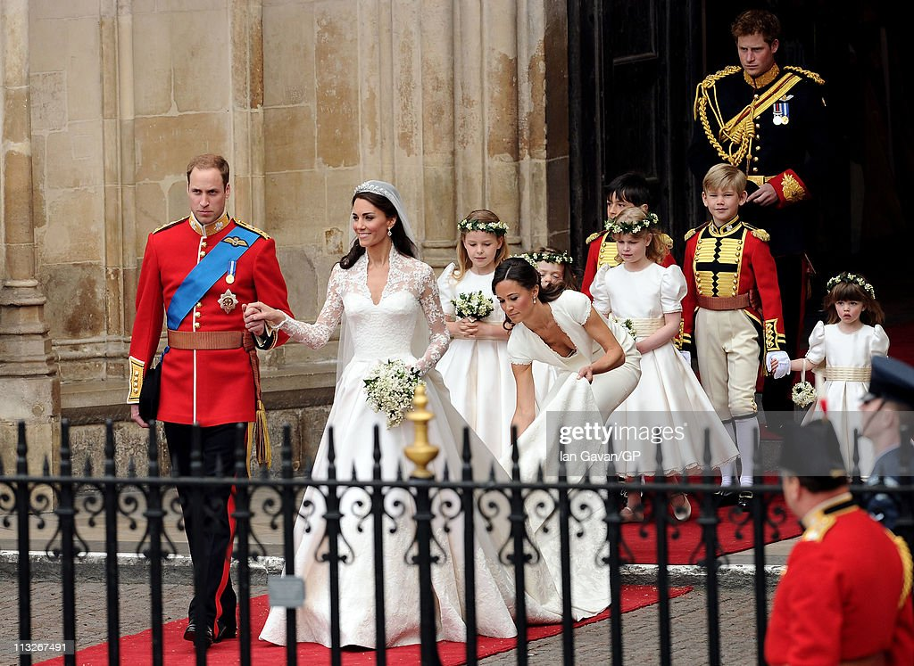 Their Royal Highnesses Prince William Duke of Cambridge and Catherine Duchess of Cambridge exit Westminster Abbey after their Royal Wedding followed...