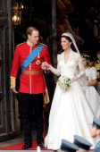 Their Royal Highnesses Prince William Duke of Cambridge and Catherine Duchess of Cambridge exit Westminster Abbey after their Royal Wedding on April...