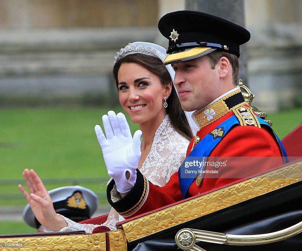Their Royal Highnesses Prince William Duke of Cambridge and Catherine Duchess of Cambridge make their journey by carriage procession to Buckingham...