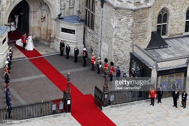 Their Royal Highnesses Prince William Duke of Cambridge and Catherine Duchess of Cambridge leave Westminster Abbey as they prepare to begin their...