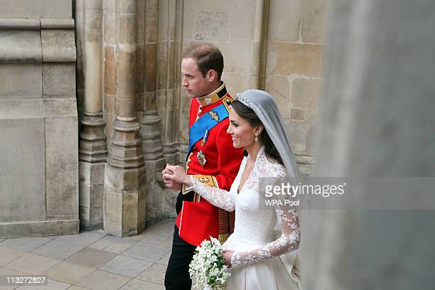 Their Royal Highnesses Prince William Duke of Cambridge and Catherine Duchess of Cambridge leave the Abbet to make the journey by carriage procession...