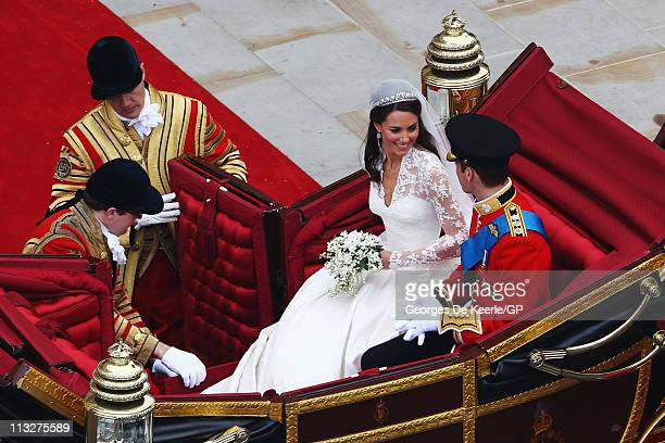 Their Royal Highnesses Prince William Duke of Cambridge and Catherine Duchess of Cambridge begin their journey by carriage procession to Buckingham...