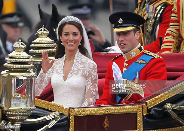 Their Royal Highnesses Prince William Duke of Cambridge and Catherine Duchess of Cambridge journey by carriage procession to Buckingham Palace...