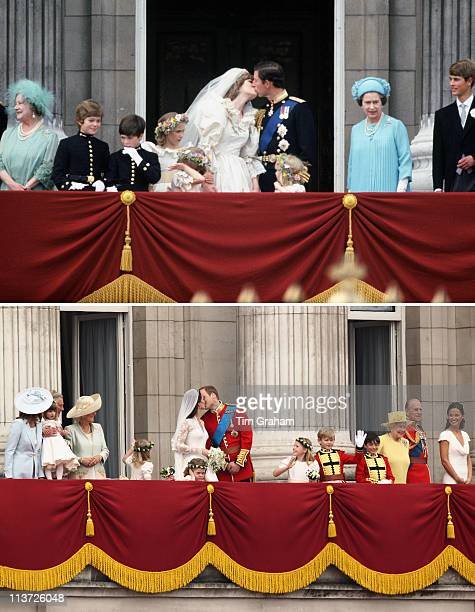 In this composite image a comparison has been made between the Royal Wedding balcony kisses of Prince Charles Prince of Wales and Lady Diana Spencer...