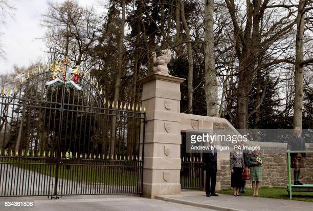 Their Royal Highnesses The Prince of Wales and the Duchess of Cornwall unveil the new Queen Mother Memorial gates at Glamis Castle