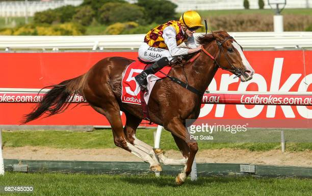 Thelburg ridden by Ben Allen wins the Recycal Handicap at Caulfield Racecourse on May 13 2017 in Caulfield Australia