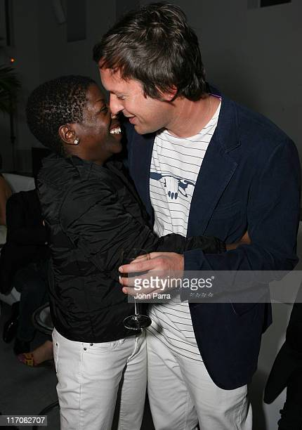 Thelma Golden and Doug Ailtken during Gucci Hosting Party To Celebrate Doug Aitken's Book 'Broken Screen' at The Davidson Family in Miami Beach...