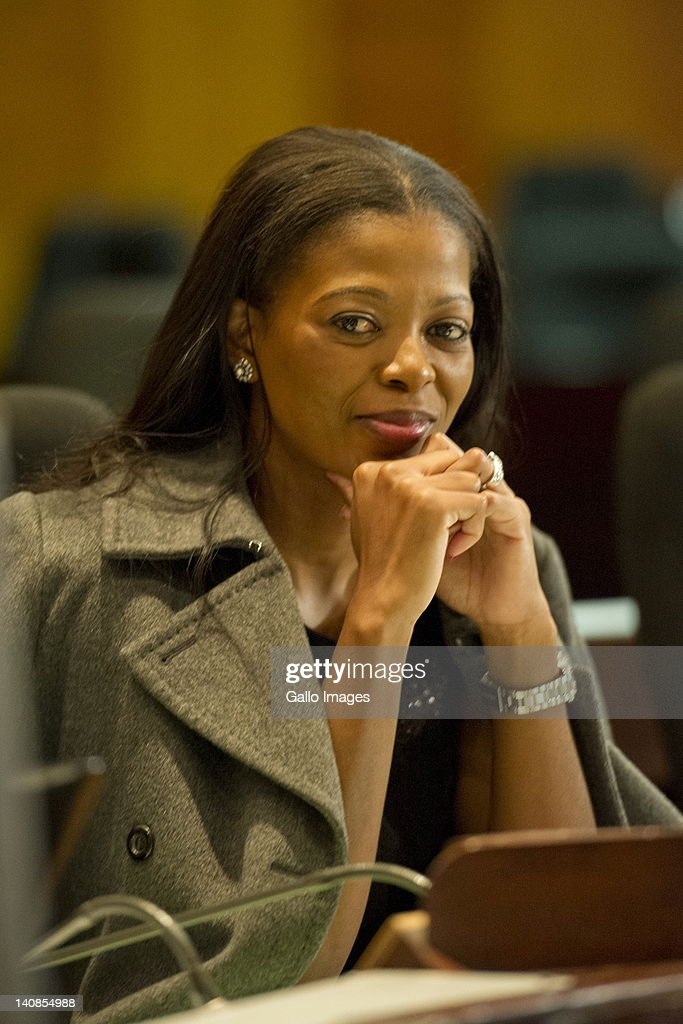 Thembeka Cele, wife of suspended National Police Commissioner General Bheki Cele appears at the Board of Inquiry's probe into allegations of misconduct against Bheki Cele on March 7, 2012 in Pretoria, South Africa. Bheki Cele is being investigated for unlawful leasing of two police office spaces.