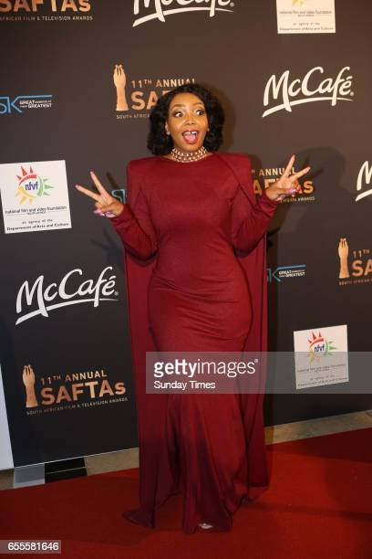 Thembisa Mdoda poses on the red carpet during the South African Film and Television Awards at Sun City on March 18 2017 in Rustenburg South Africa...