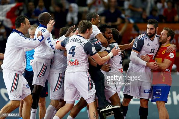 Then team of France celebrates after the semi final match between Spain and France at Lusail Multipurpose Hall and Nikola Karabatic of France...
